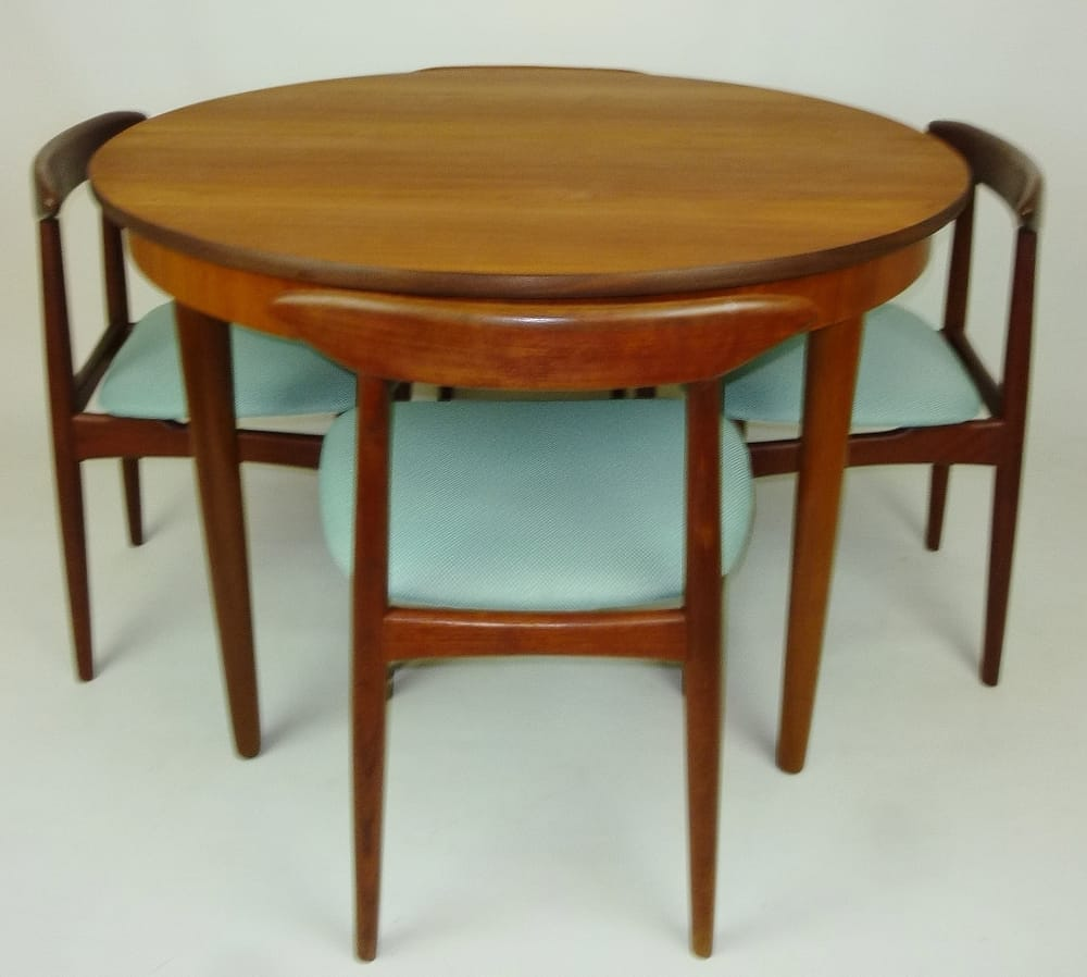 Teak 2 tone compact round 2 leaf dining table paired with for Dining room tables vancouver bc