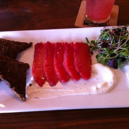 The Hudson House - Nyack, NY, United States. Beet cured salmon !