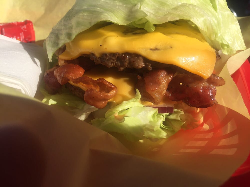 double bacon cheeseburger lettuce wrapped yelp