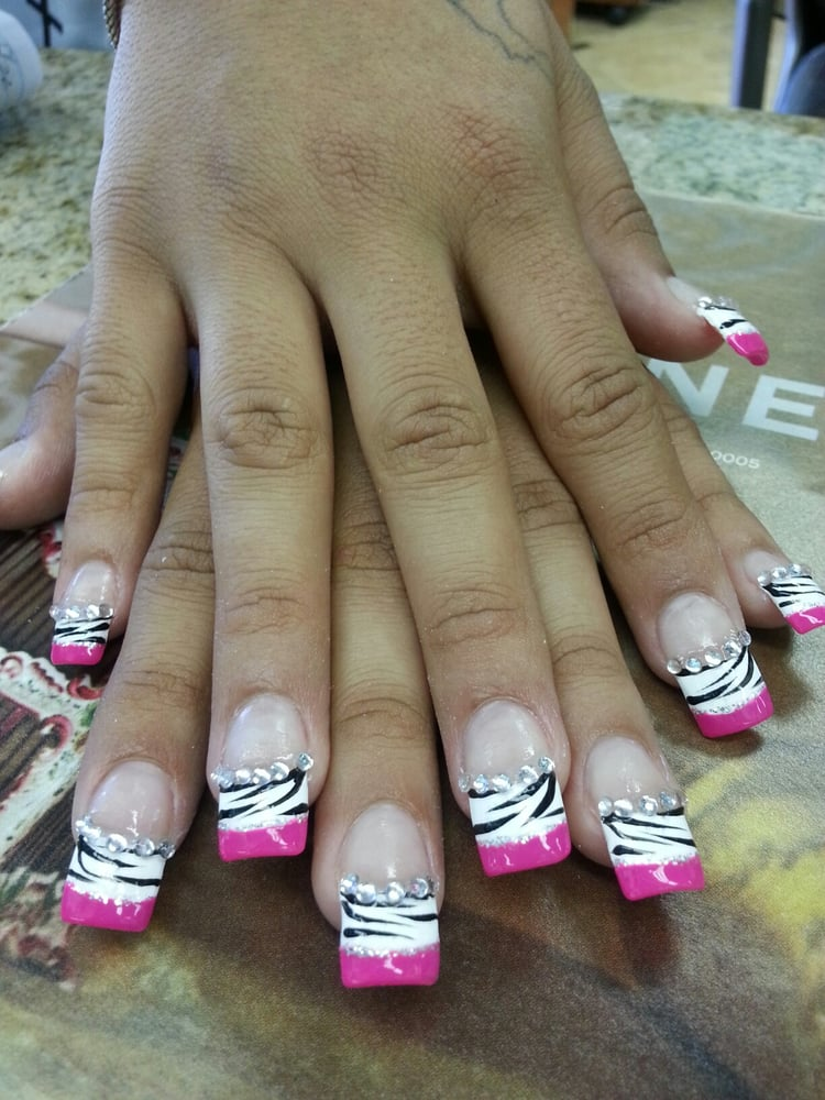 Hot pink tips with zebra print - Yelp
