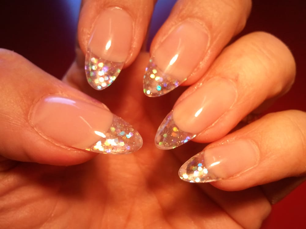 Sculpted acrylics with see through free edge with glitter sparkles ...