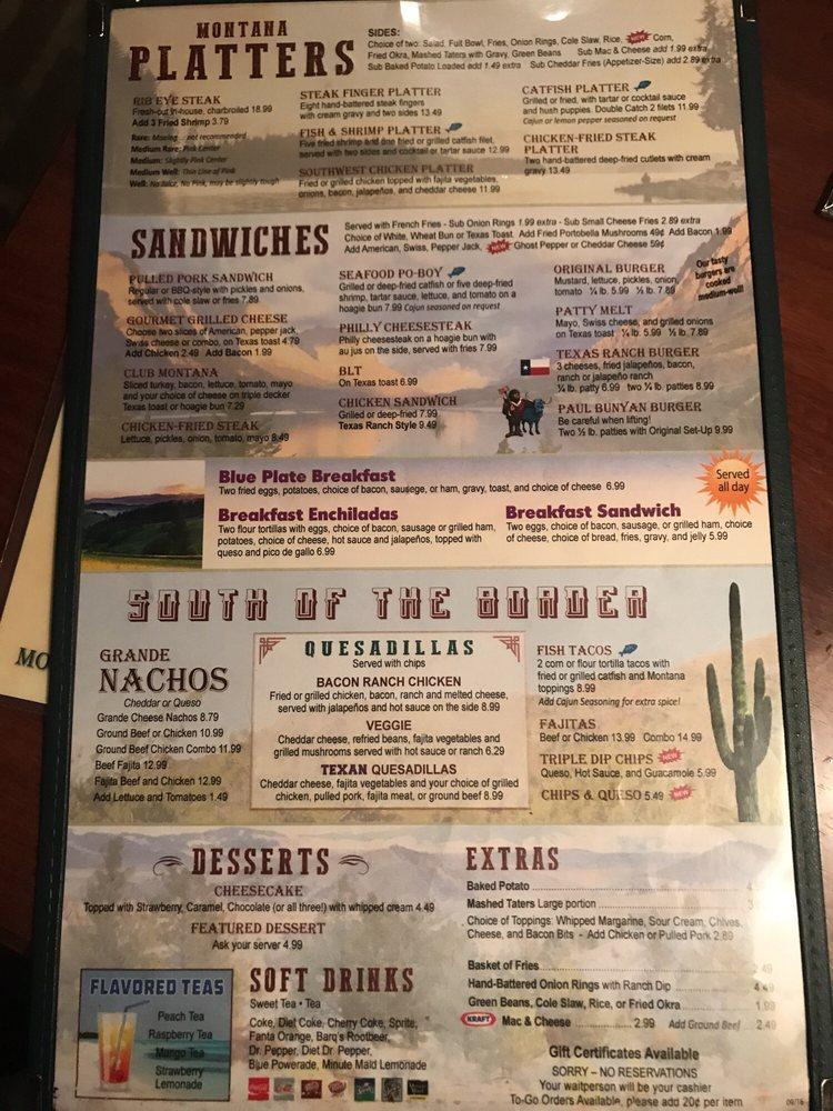 Montana Restaurant  S Main St Weatherford Tx