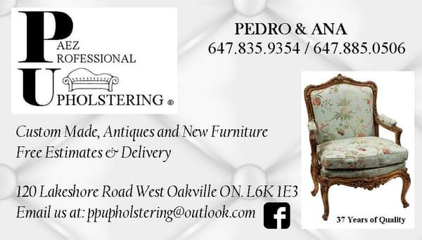 paez professional upholstering polsterei 126 lakeshore road e oakville on kanada. Black Bedroom Furniture Sets. Home Design Ideas
