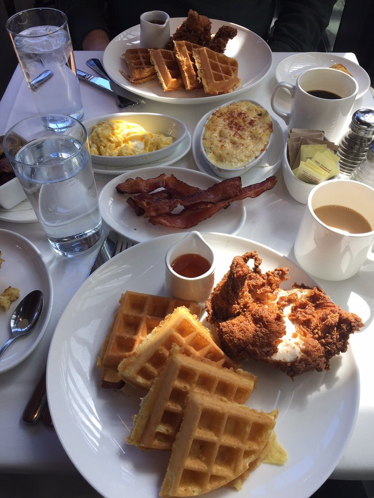 South City Kitchen Buckhead bacon, eggs, grits, and chicken and waffles! awesome meal. great