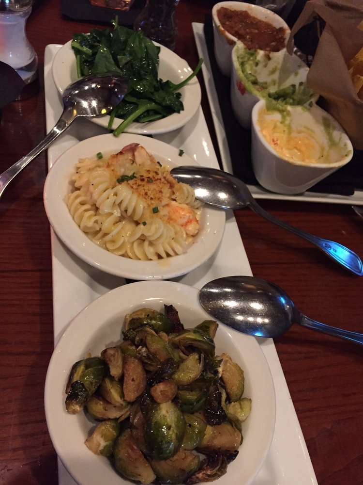 Flight of sides - garlic spinach (great), Brussels sprouts (great), lobster mac and cheese ...