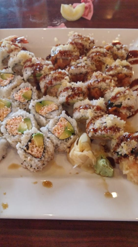 Snow crab roll, crunchy shrimp roll, and spicy salmon roll ...