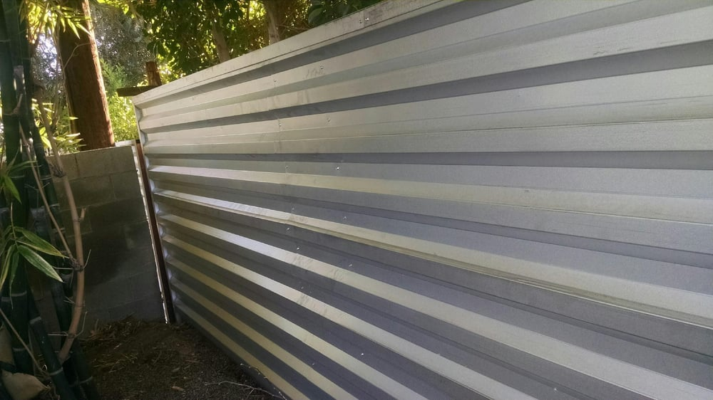 6 Corrugated Metal Fence With Top And Side Trim Yelp