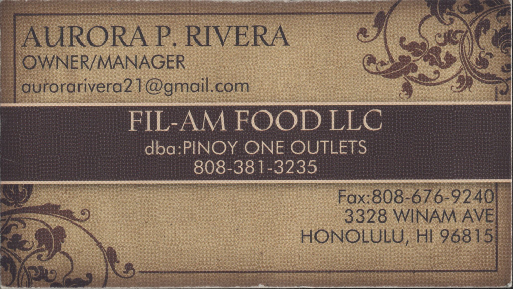 This is their business card yelp photo of pinoy one outlet honolulu hi united states this is their reheart Gallery