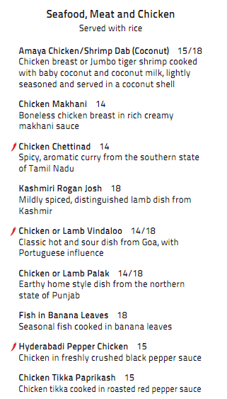 Dinner menu 3 8 yelp for Amaya indian cuisine menu