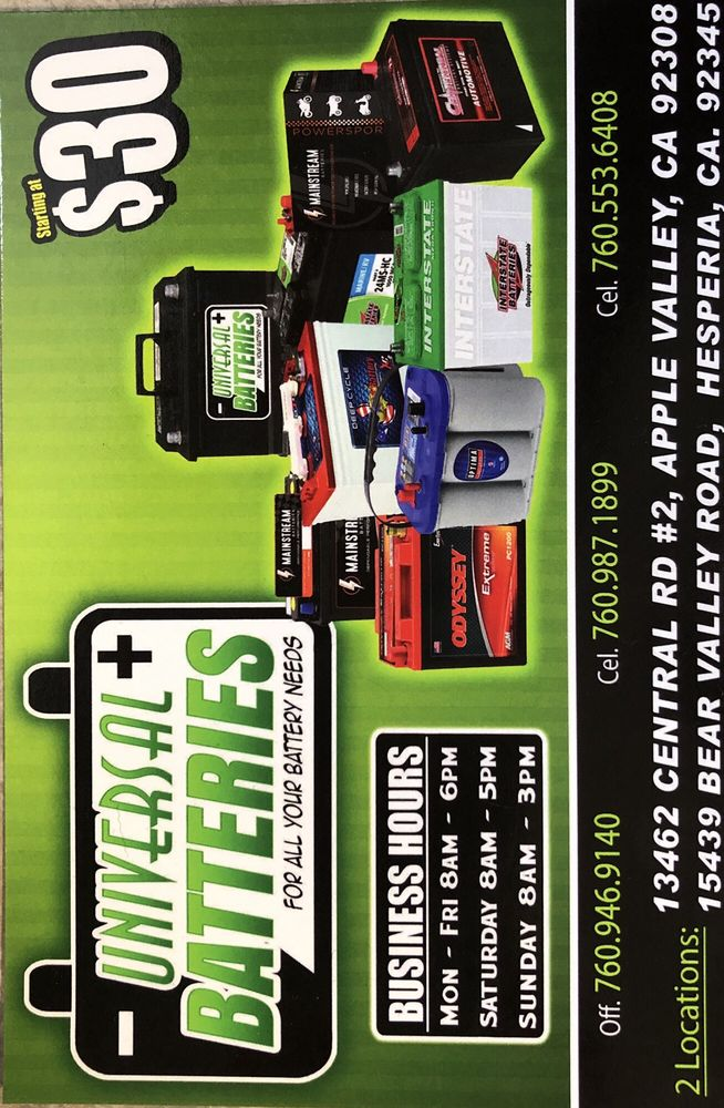 Universal Batteries - Apple Valley: 13462 Central Rd, Apple Valley, CA