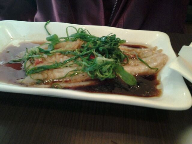 Steamed sea bass with spicy ginger green onion and shoyu sauce. - Yelp
