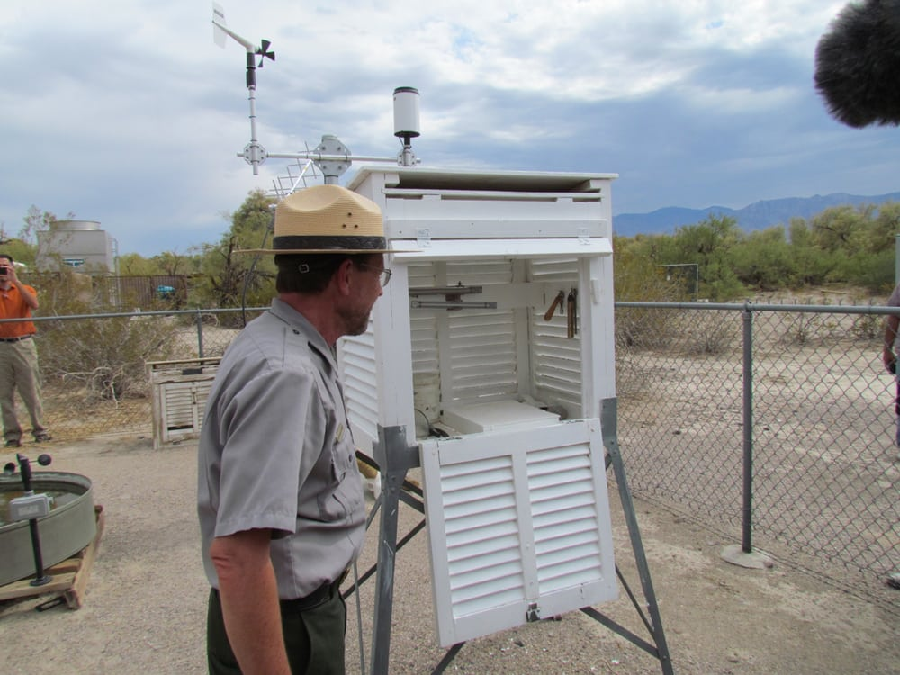 The ranger at the Furnace Creek weather station checks the