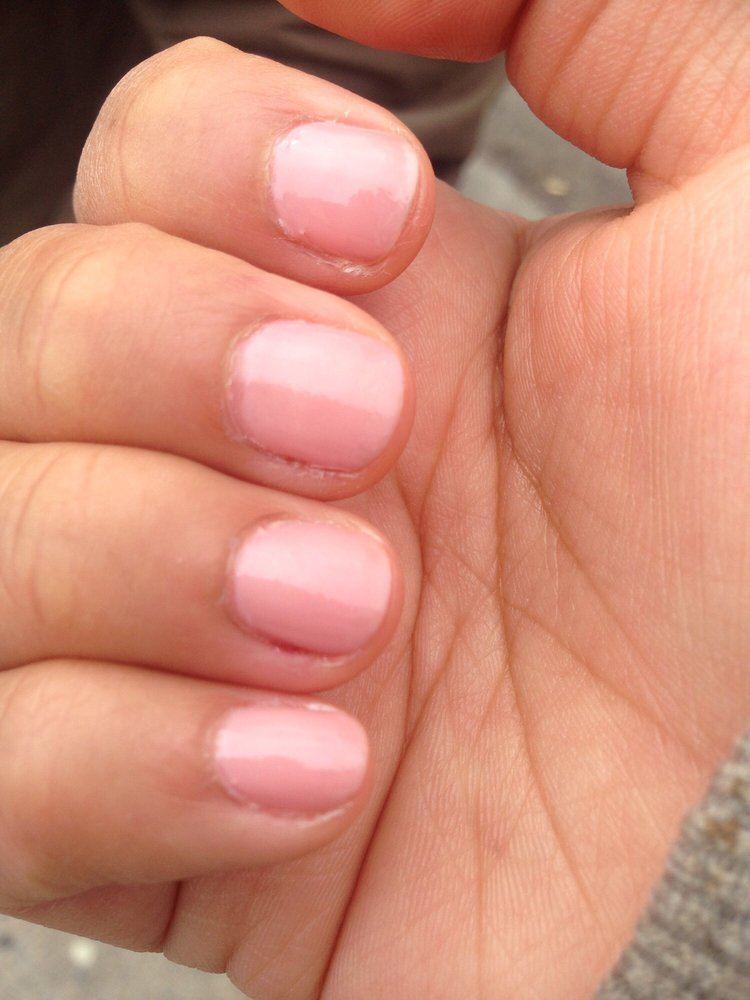 The worst manicure ever. Left my nails messed up by deciding to file ...