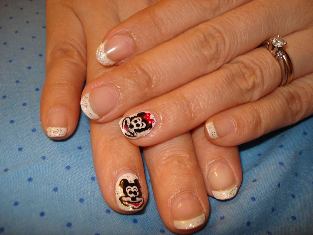 Mickey Mouse free hand design & glitter gel nail by Kao Chih - Yelp
