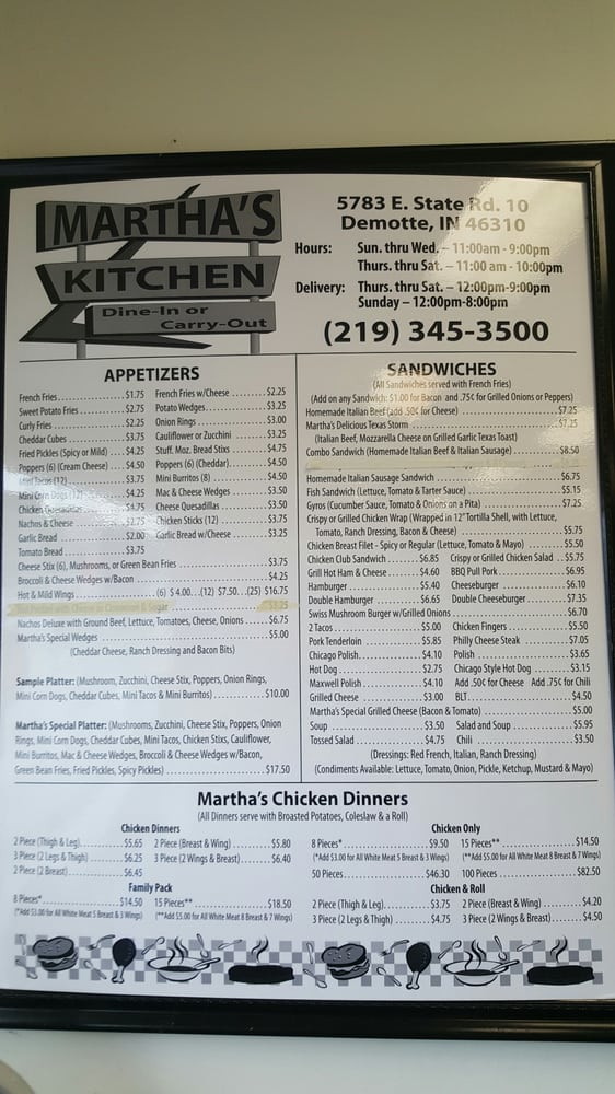 Martha\'s Kitchen - Chicken Shop - 5783 E State Road 10, De Motte, IN ...
