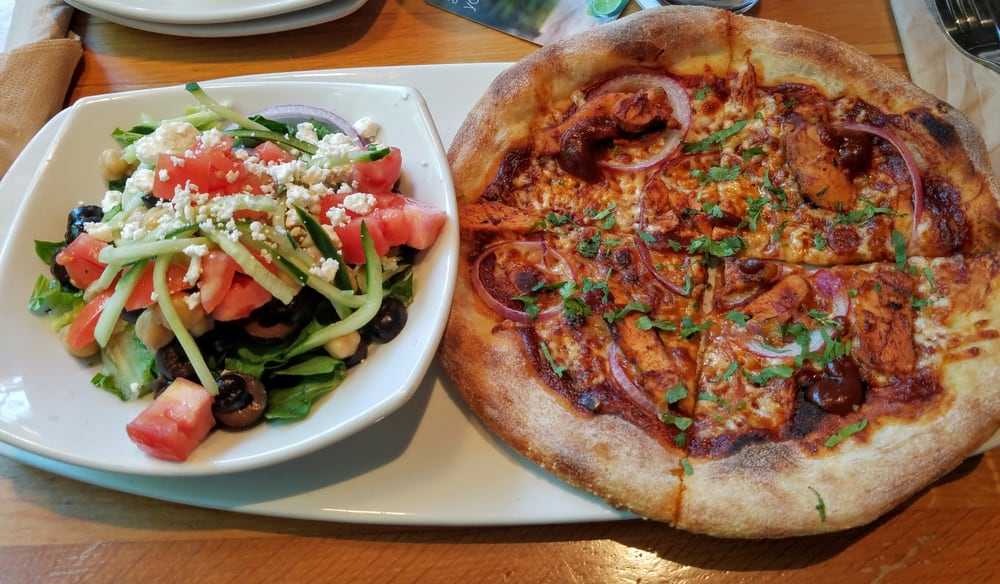 Lunch Combo: Mediterranean salad and BBQ chicken pizza - Yelp