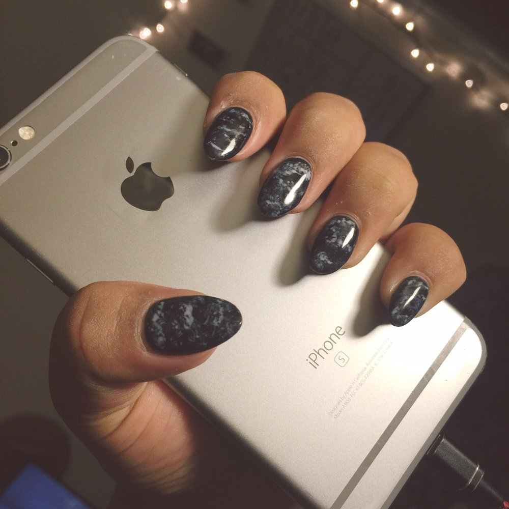 Almond Shaped Nails With Black White Marble Gel Polish Yelp