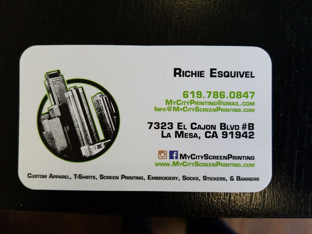 Business card yelp photo of my city screen printing la mesa ca united states business reheart Gallery