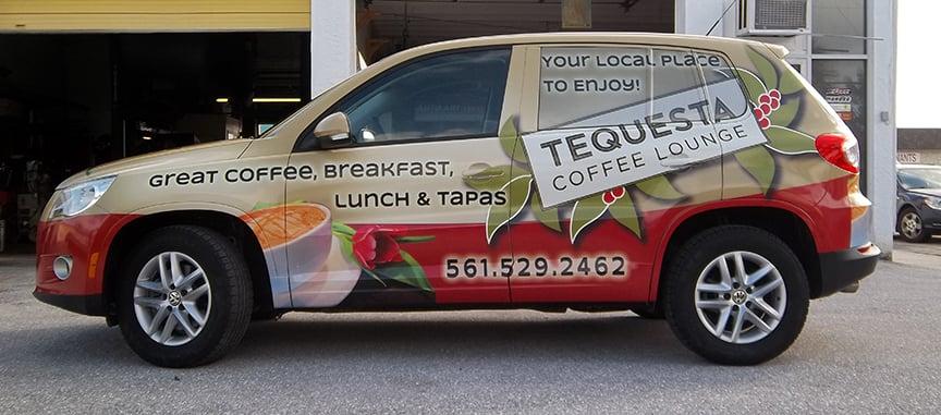 Auto Art Vinyl Graphics VW Tiguan wrap for Tequesta Coffee
