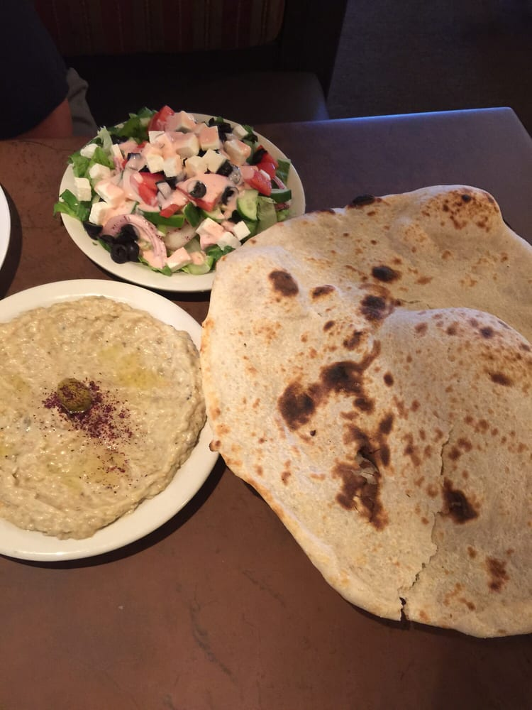 My dinner baba ganouj w pita and my ali baba salad for Ali baba cuisine
