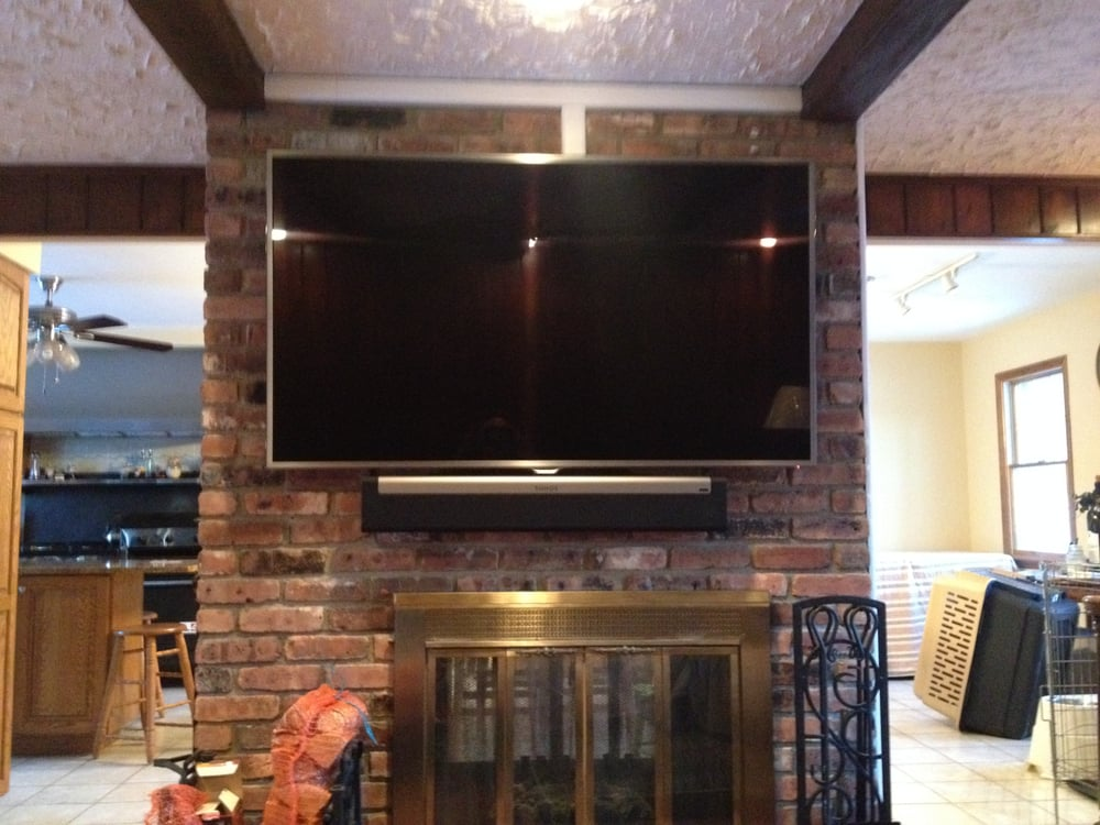 Tv Mounted All Brick Fireplace Wires Concealed Sonos Soundbar Installed Mahwah Nj Yelp