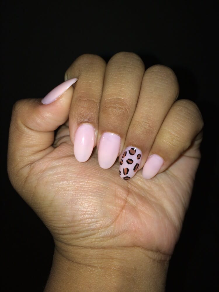 Pale Pink And Cheetah Design On Round Nails Yelp