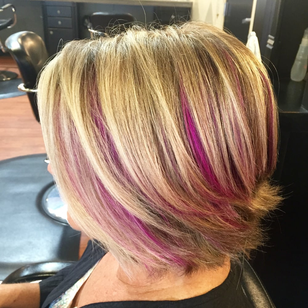 Pink Peek A Boo And Blonde Highlights With A Short Razor