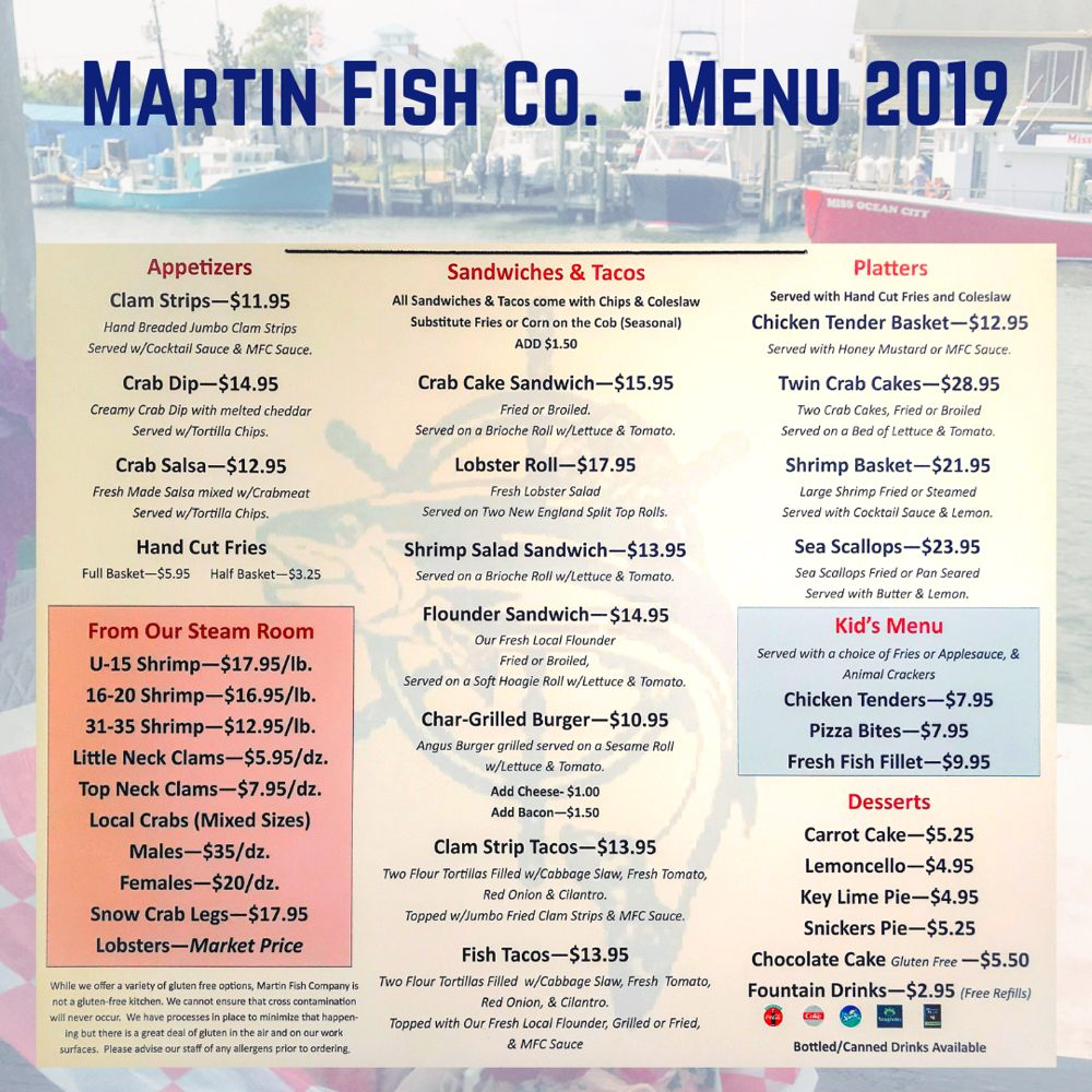 Menu 2019 - Carry Out - Deck and Floating Boat Dock - Open