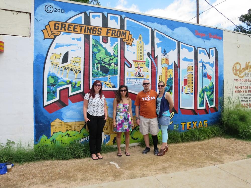 Austin 39 s famous postcard mural yelp for Austin postcard mural