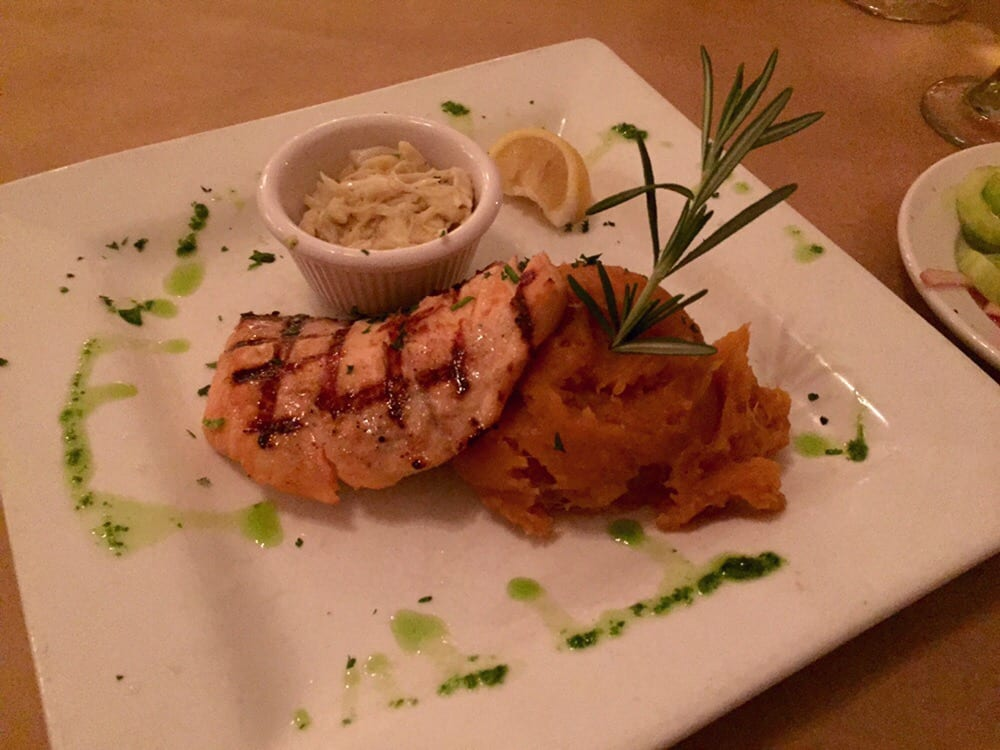 Naked grilled salmon with oscar style sauce and mashed for Fish thyme acworth