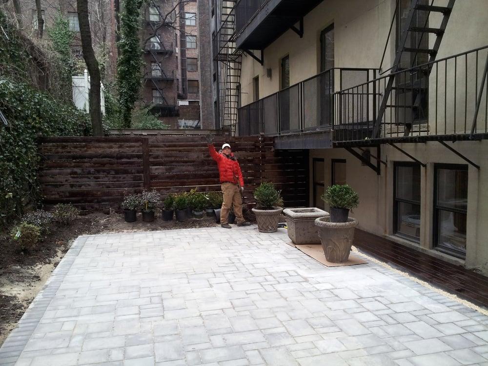 Concrete Paver Patio Grey Custom Built Horizontal Fence