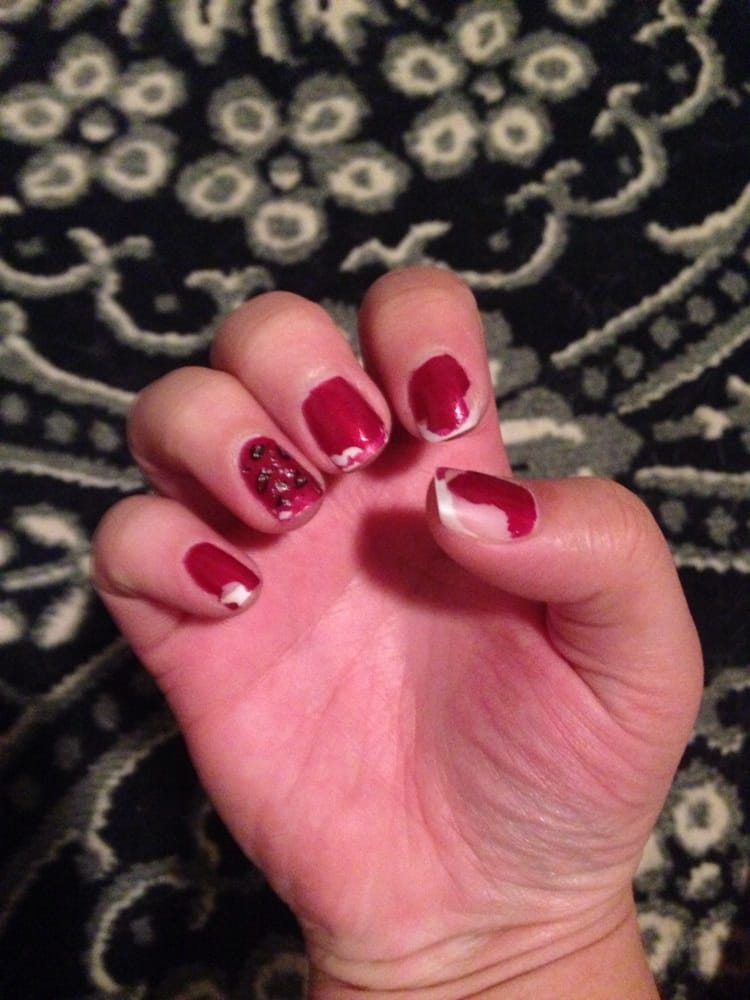 Pink and white flared glitter tips with a sparkle white bow. - Yelp