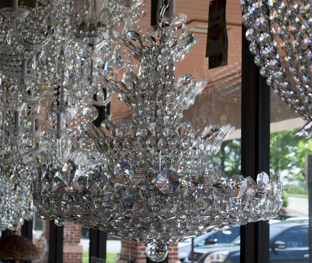 Gorgeous all crystal chandeliers in the windows at Lux Lighting - Yelp