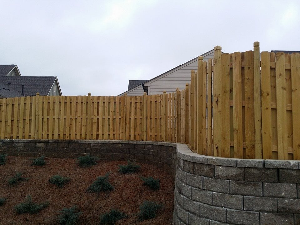 Custom Shadowbox Fence On Top Of Retaining Wall Yelp
