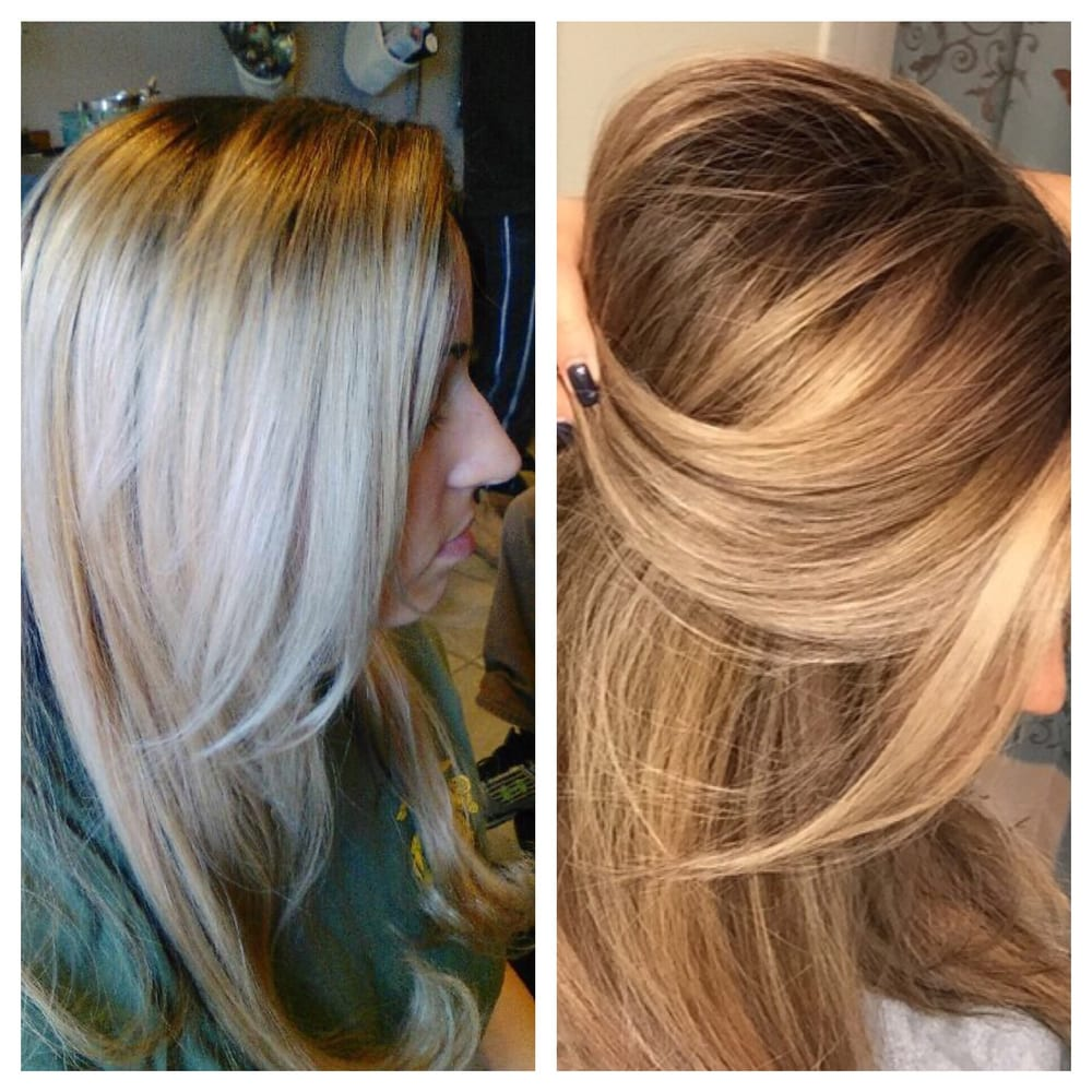 Bleach blonde ombré to full foil high and low lights to