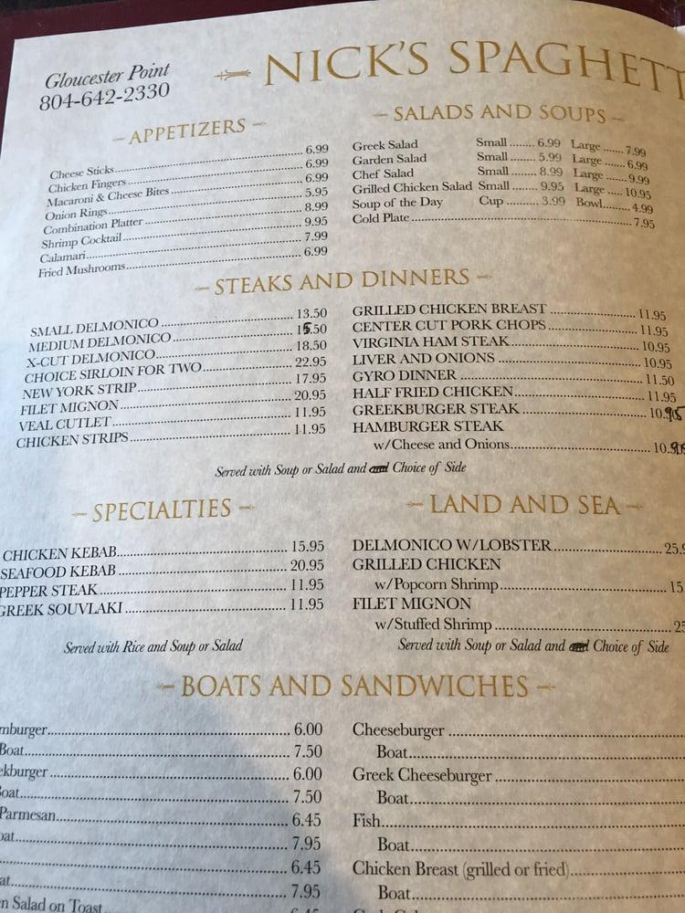 Nick's Spaghetti & Steak House: 3483 Lewis B Puller Memorial Hwy, Shacklefords, VA