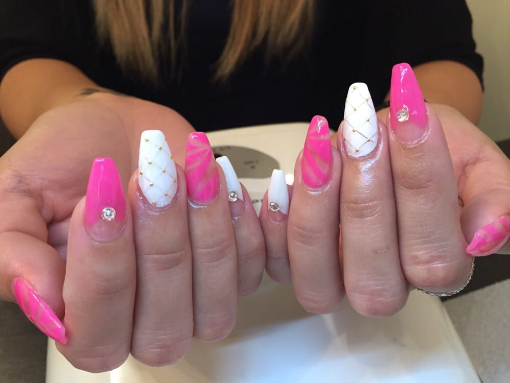 Acrylic nails with gel color, rhinestones, nail art, studs, and ...