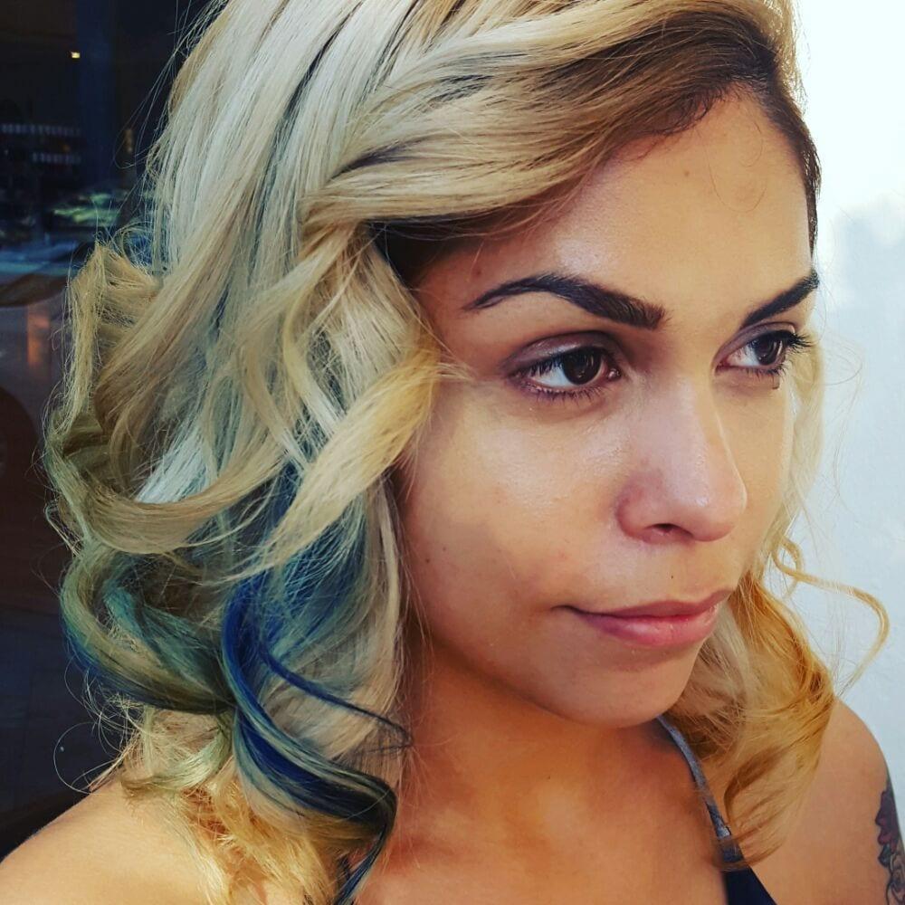 Blue Peekaboo Highlights On Blonde Hair By Lotus Yelp