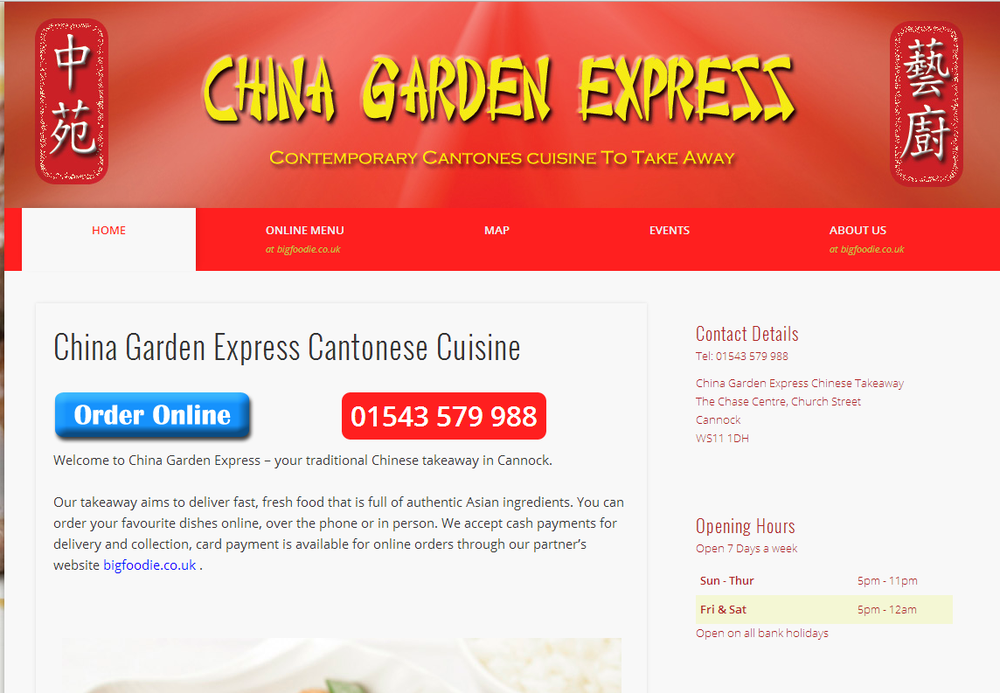 China garden express chinese the chase centre church for Gardening express reviews