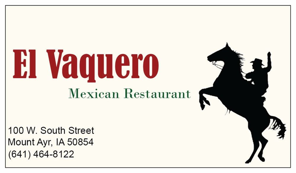 El Vaquero: 100 W South St, Mount Ayr, IA