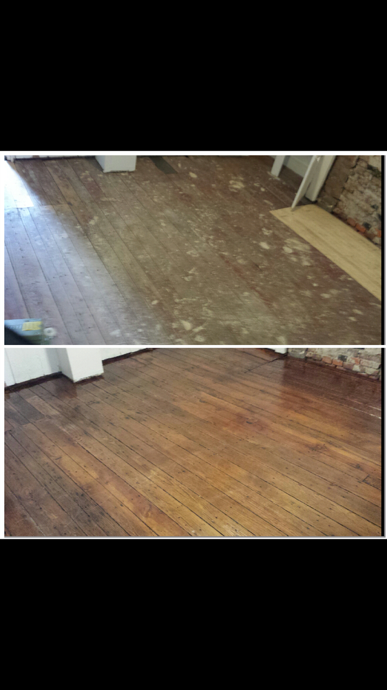 extremely old and distressed original pine floors now has