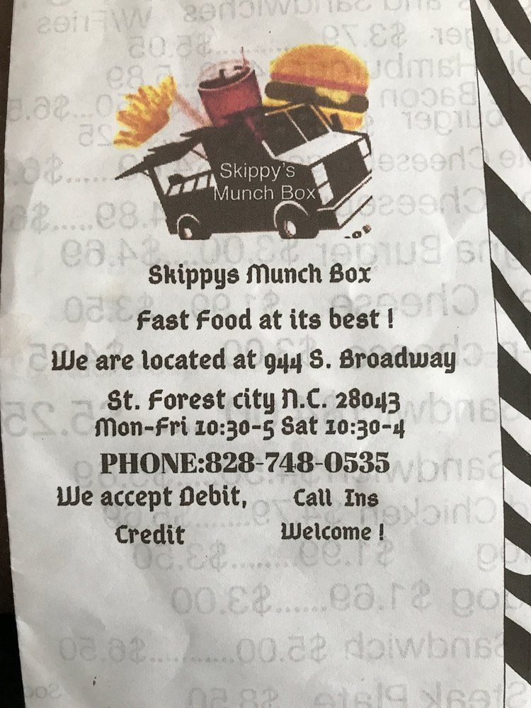 Skippy's Munch Box: 944 S Broadway St, Forest City, NC