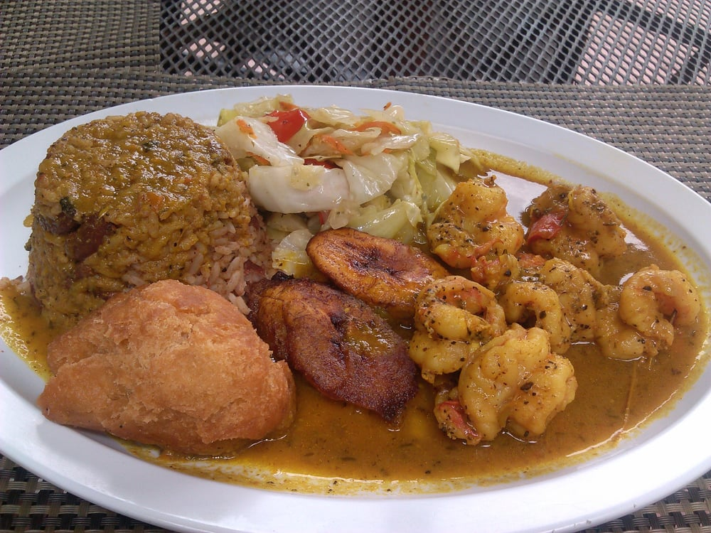 Curry stew shrimp with rice peas steamed veggies for Ackee bamboo jamaican cuisine los angeles ca
