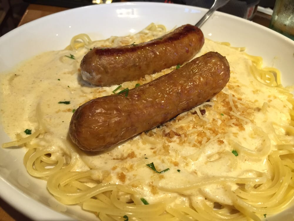 Cucina Mia Spaghetti With Asiago Garlic Alfredo With Italian Sausage Yelp