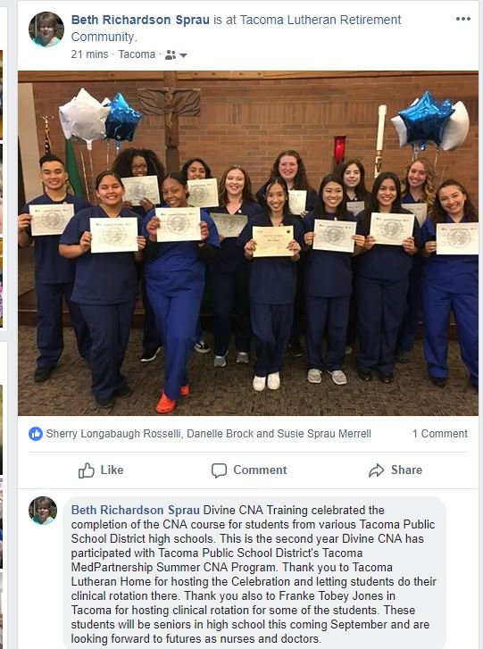 Students from Tacoma Public high schools who took CNA class