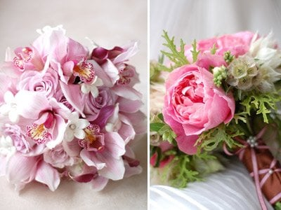 lavender cymbidium orchid and rose bouquet & pink garden ...
