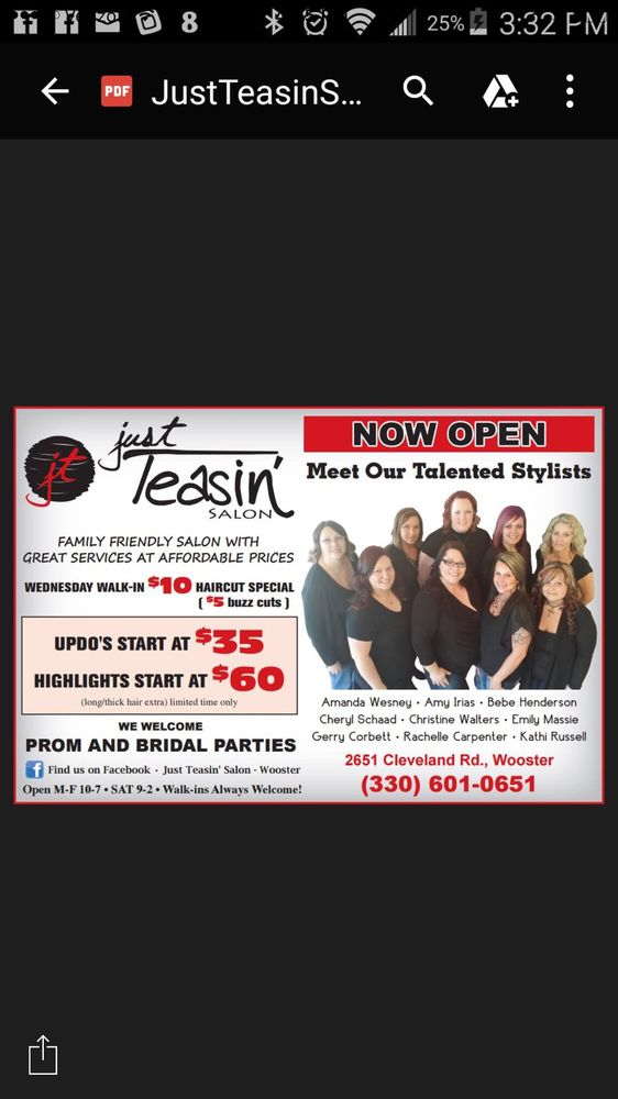 Just Teasin Salon Hair Salons 2651 Cleveland Rd Wooster Oh
