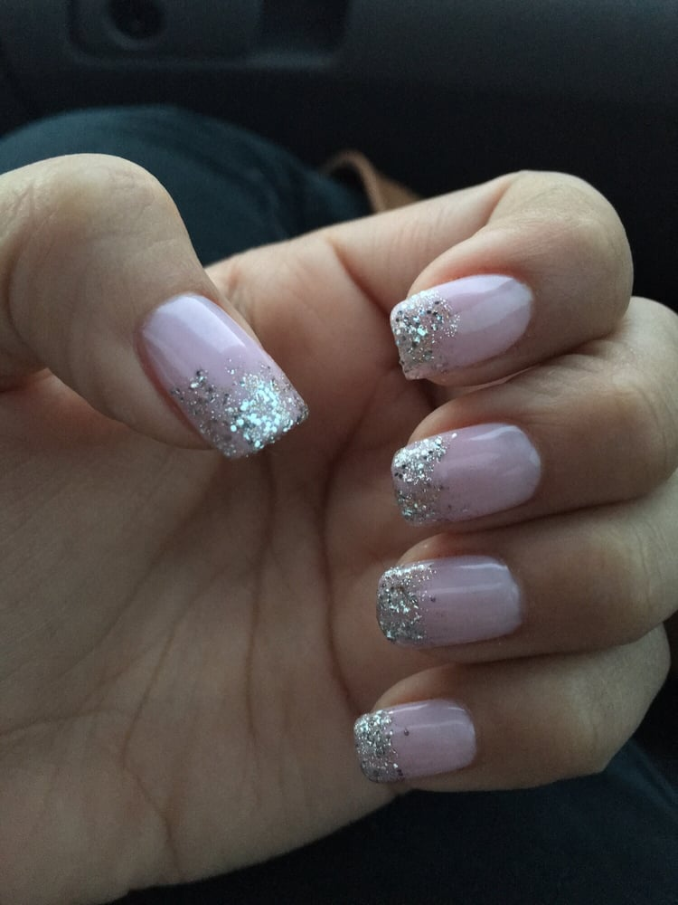Blush Nails With Gold Glitter Yelp