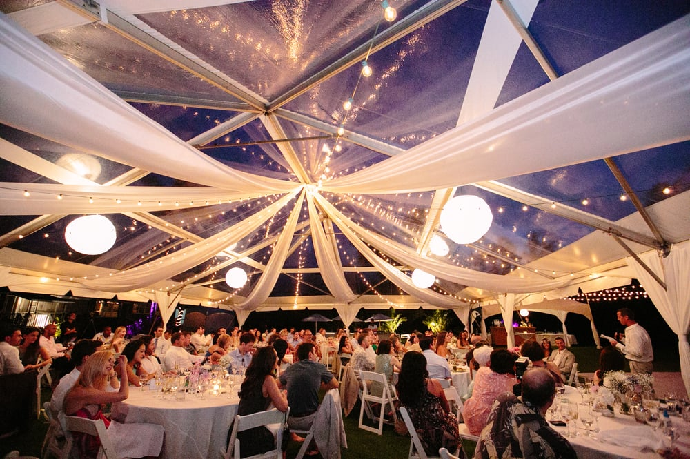Stunning Cafe Lights Lanterns And White Draping In A