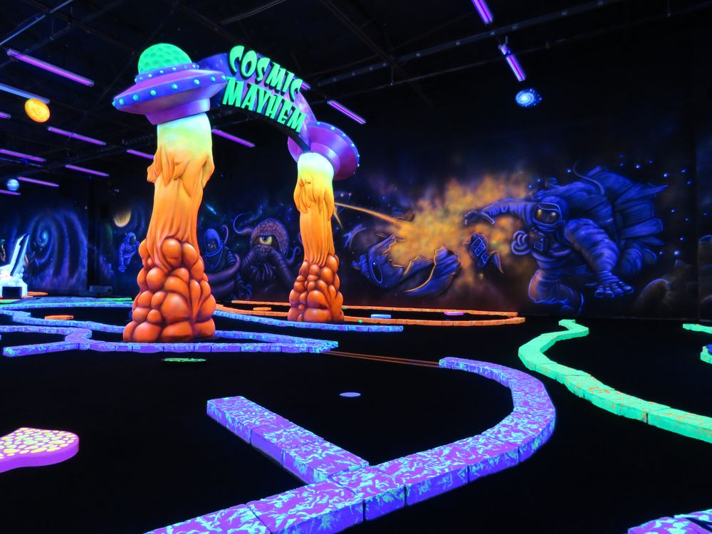 Cosmic Mayhem Black Light Mini Golf